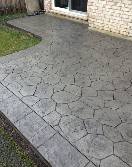 We poured this stamped concrete patio in January 2021